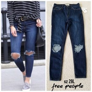 """Free People """"Busted Knee"""" high rise jeans"""